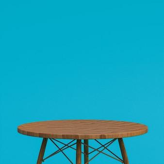 Table en bois ou support de produit pour produit d'affichage sur bleu