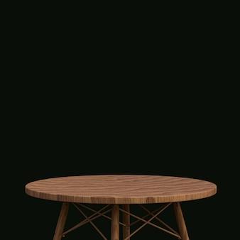 Table en bois ou support de produit pour produit d'affichage sur fond noir