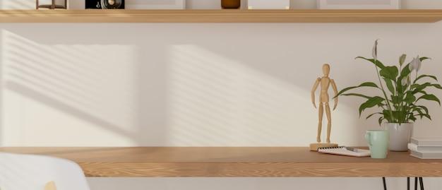 Table en bois avec des trucs de pot de fleurs et copiez le rythme dans le salon rendu 3d illustration 3d