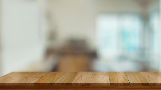 Table en bois vide, comptoir en bois avec espace copie en arrière-plan flou
