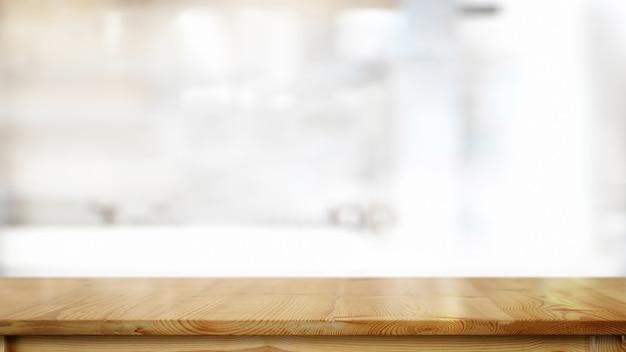 Table en bois vide dans la salle de cuisine et espace de copie pour le montage de produits ou d'aliments