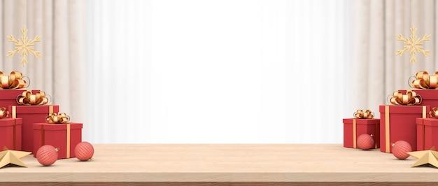 Table en bois vide décorée avec des coffrets cadeaux et des ornements de noël