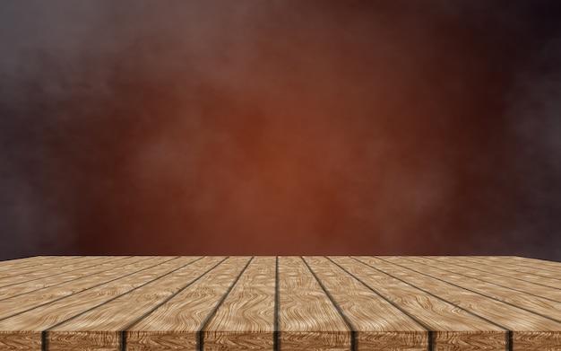 Table en bois vide isolée sur fond brun foncé et fumé. pour simuler votre produit