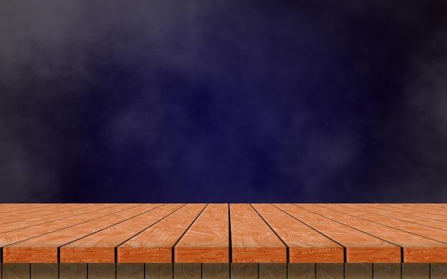 Une table en bois vide solitaire sur un fond bleu foncé et de la fumée pour simuler votre produit.