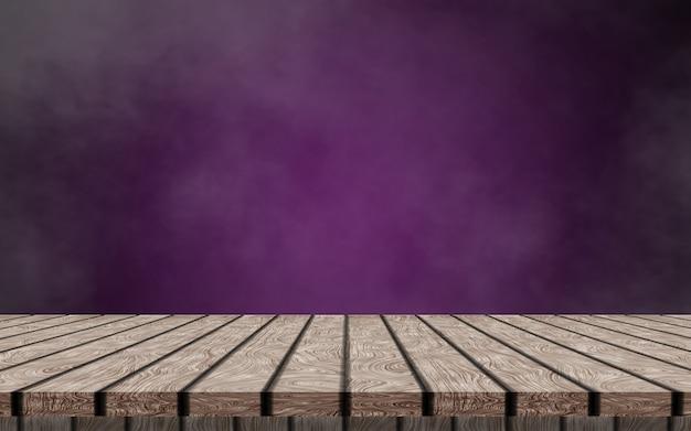 Une table en bois vide solitaire sur un fond violet foncé et fumée pour simuler votre produit.