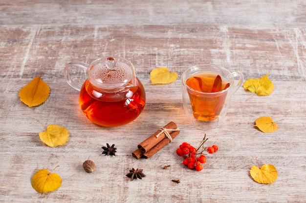 Table de bureau à domicile avec bouilloire avec thé chaud et tasse de feuilles d'automne