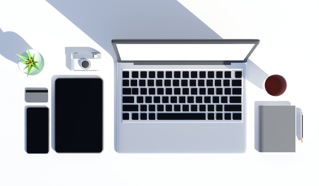 Table de bureau vue de dessus avec ordinateur portable, smartphone, tasse de café, carnet de notes, appareil photo, rendu 3d