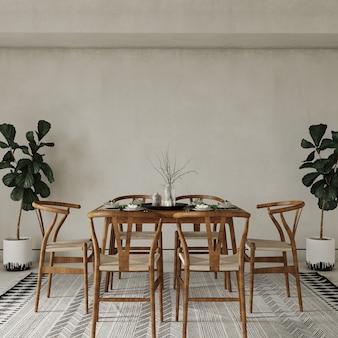 Table et chaises dans la chambre avec des plantes