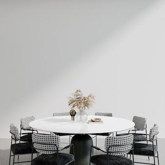 Table et chaises dans la salle de rendu 3d