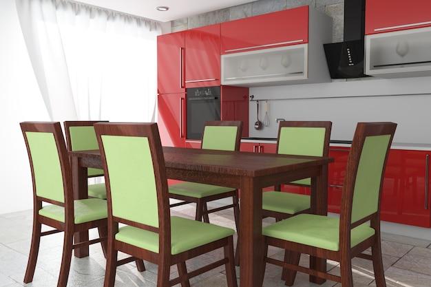Table et chaises en face de meubles de cuisine rouge moderne avec ustensiles de cuisine intérieur gros plan extrême. rendu 3d