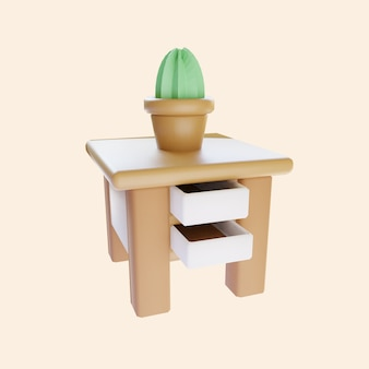 Table de chevet mignonne en rendu 3d avec cactus