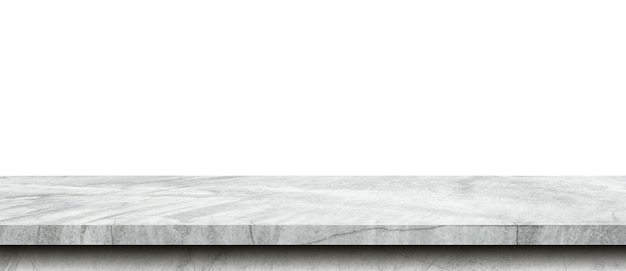Table de ciment vide sur fond blanc isolé avec espace de copie et montage d'affichage pour le produit.
