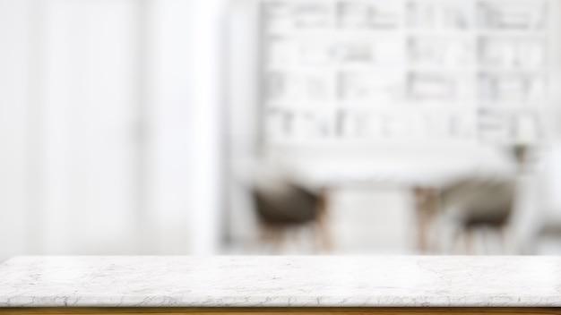 Table de comptoir en marbre vide dans le salon