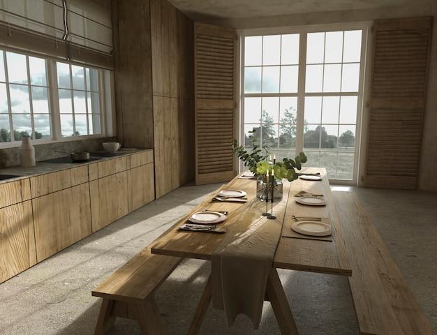 Table de cuisine en bois de style ferme scandinave et rayons de soleil illustration de rendu 3d