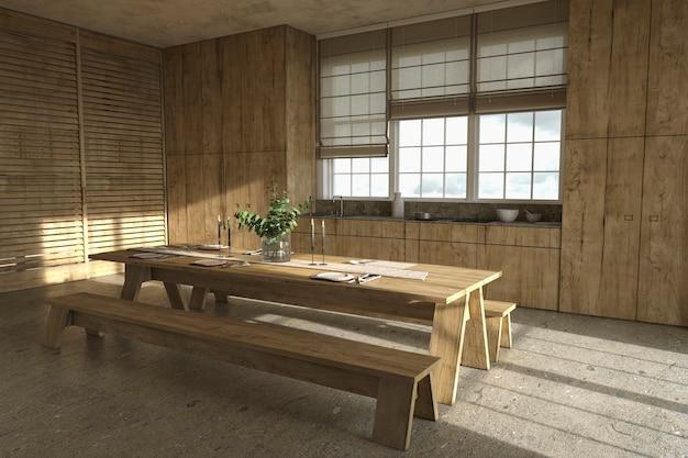 Table de cuisine en bois de style ferme scandinave et stores fenêtres illustration de rendu 3d