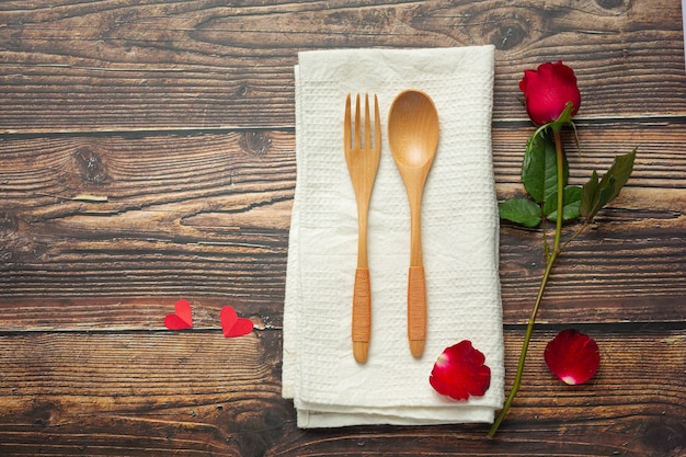 Table à dîner romantique concept d'amour