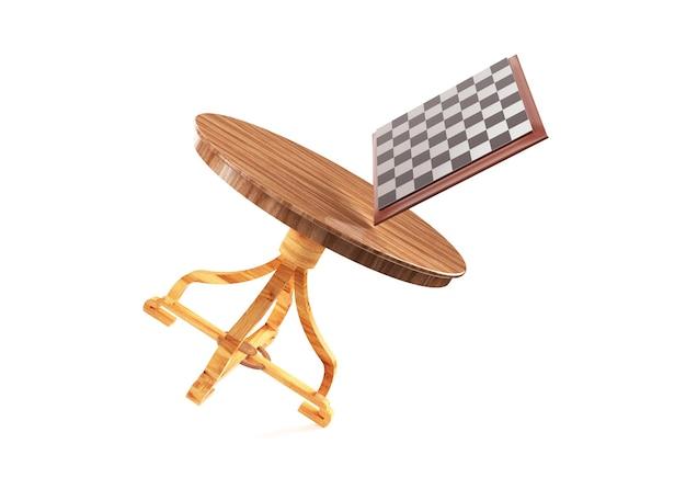 Table d'échecs et échiquier et beaucoup d'échecs en vol rendu 3d