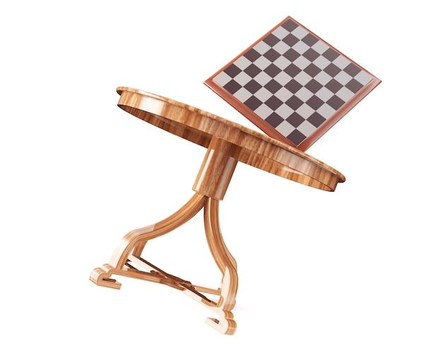 Table d'échecs et échiquier en vol rendu 3d