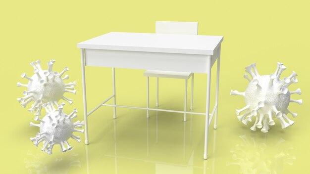 La table de l'école et le virus pour la crise du coronavirus dans le concept de l'école rendu 3d