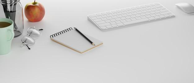 Table d'étude avec clavier d'ordinateur de papeterie et fournitures de rendu 3d illustration 3d