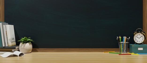 Table d'étude avec horloge de pot de plante de papeterie de livres et rendu 3d de mur de tableau noir