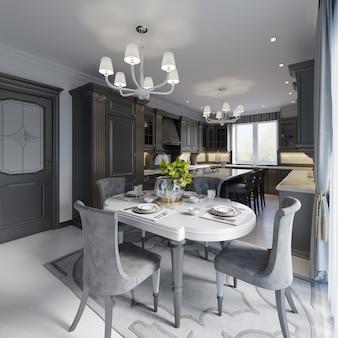 Table à manger dans des styles classiques sur le mur blanc de fond, meubles noirs. rendu 3d