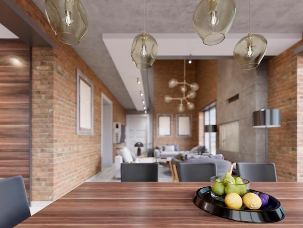 Table à manger avec décor, assiette de fruits noirs. salle à manger de style moderne au design loft. rendu 3d.