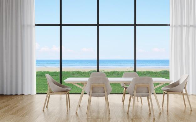 Table à manger à l'étage d'une grande salle à manger dans une maison moderne ou un hôtel de luxe avec vue sur le ciel et la mer