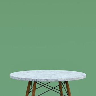 Table en marbre blanc ou support de produit pour afficher le produit sur fond vert