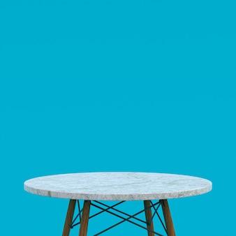 Table En Marbre Blanc Ou Support De Produit Pour Produit D'affichage Sur Bleu Photo Premium