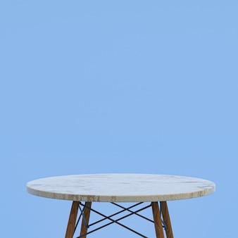 Table en marbre blanc ou support de produit pour produit d'affichage sur bleu