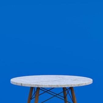 Table en marbre blanc ou support de produit pour produit d'affichage sur fond bleu