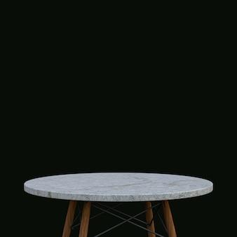 Table en marbre blanc ou support de produit pour produit d'affichage sur fond noir