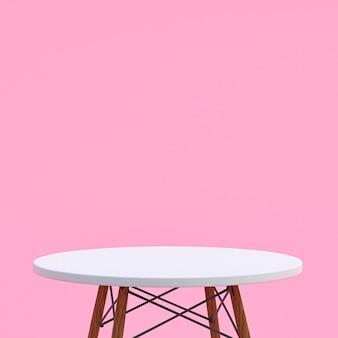 Table en marbre blanc ou support de produit pour produit d'affichage sur fond rose