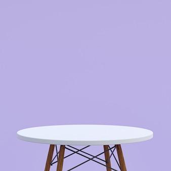Table en marbre blanc ou support de produit pour produit d'affichage sur fond violet