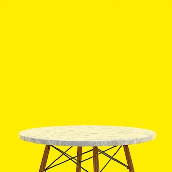 Table en marbre blanc ou support de produit pour produit d'affichage sur jaune