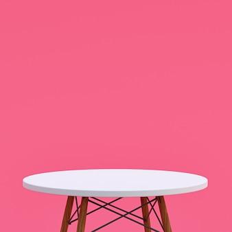 Table en marbre blanc ou support de produit pour produit d'affichage sur rose
