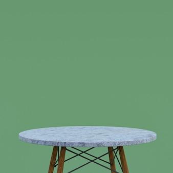 Table en marbre blanc ou support de produit pour produit d'affichage sur vert