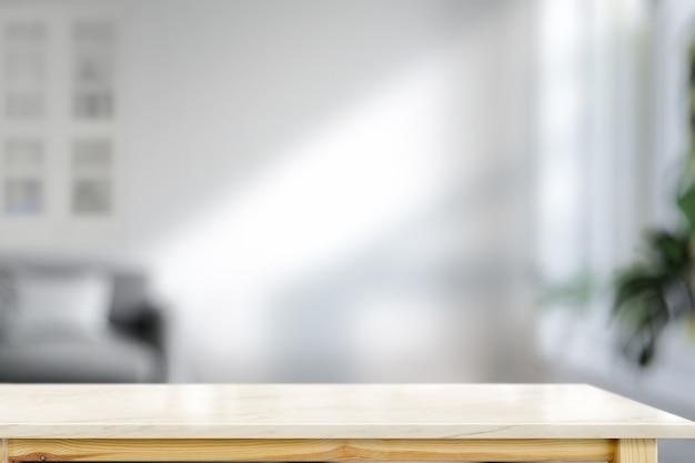 Table en marbre dans le salon pour le montage de produits