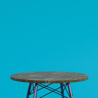 Table en marbre marron ou support de produit pour produit d'affichage sur bleu