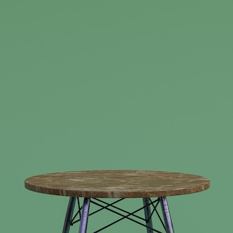 Table en marbre marron ou support de produit pour produit d'affichage sur fond vert