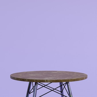 Table en marbre marron ou support de produit pour produit d'affichage sur violet