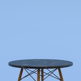 Table en marbre noir ou support de produit pour produit d'affichage sur fond bleu