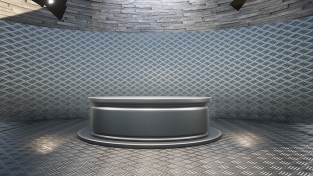 Table en métal argenté avec toile de fond dans le studio de presse
