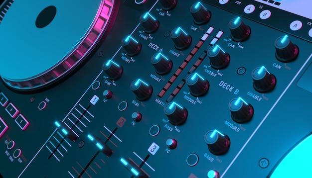 Table de mixage dj sur fond noir gros plan, illustration 3d