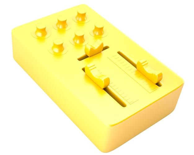 Table de mixage dj d'or isolé sur fond blanc
