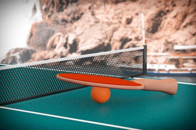 Table de ping-pong avec gros plan extrême paddle