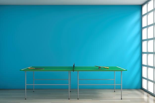 Table de ping-pong avec pagaies contre un mur bleu vierge dans la chambre. rendu 3d