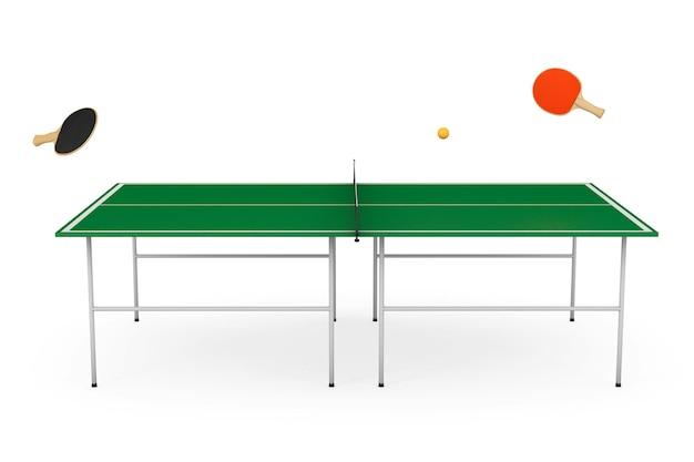 Table de ping-pong avec pagaies sur fond blanc