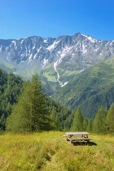 Table de pique-nique dans un pré et des montagnes